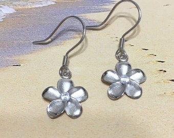 30a204401 Charming Hawaiian Plumeria Earring, Sterling Silver Plumeria Flower CZ  Dangle Earring, E4012 Birthday Wife Mom Girl Valentine Gift, Island