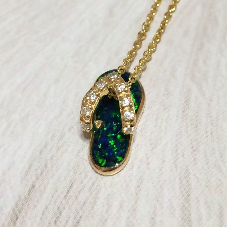 Cute Small Hawaiian Opal Slipper Necklace Sterling Silver Yellow-Gold Plated CZ Slipper Pendant N2857 Birthday Mom Girl Valentine Gift