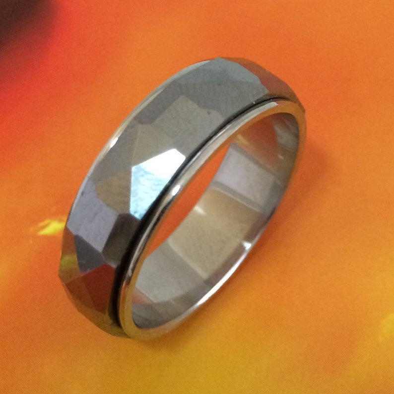 R1227 Anniversary Birthday Dad Valentine Gift Comfort Fit Shiny Stainless Steel Spinning Ring Statement PC