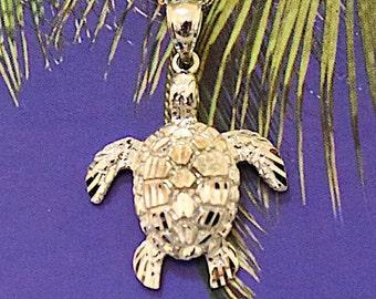 Turtle Pendant, 14KT White Gold Hawaiian Turtle Pendant, P5217