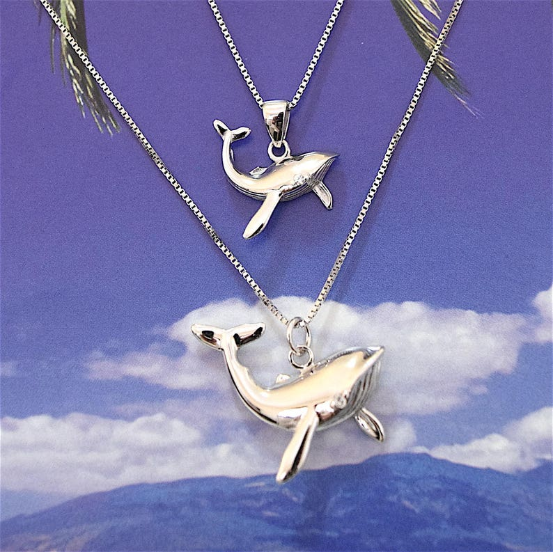 Charming Mom Daughter Mom Son Humpback Whale Necklace Big Little Sister N7027 Mom Valentine Gift Sterling Silver Hawaiian Whale Pendant