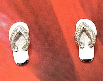 Slipper Earring, 14KT White Gold Slipper W. Diamond Stud Earring, E5437