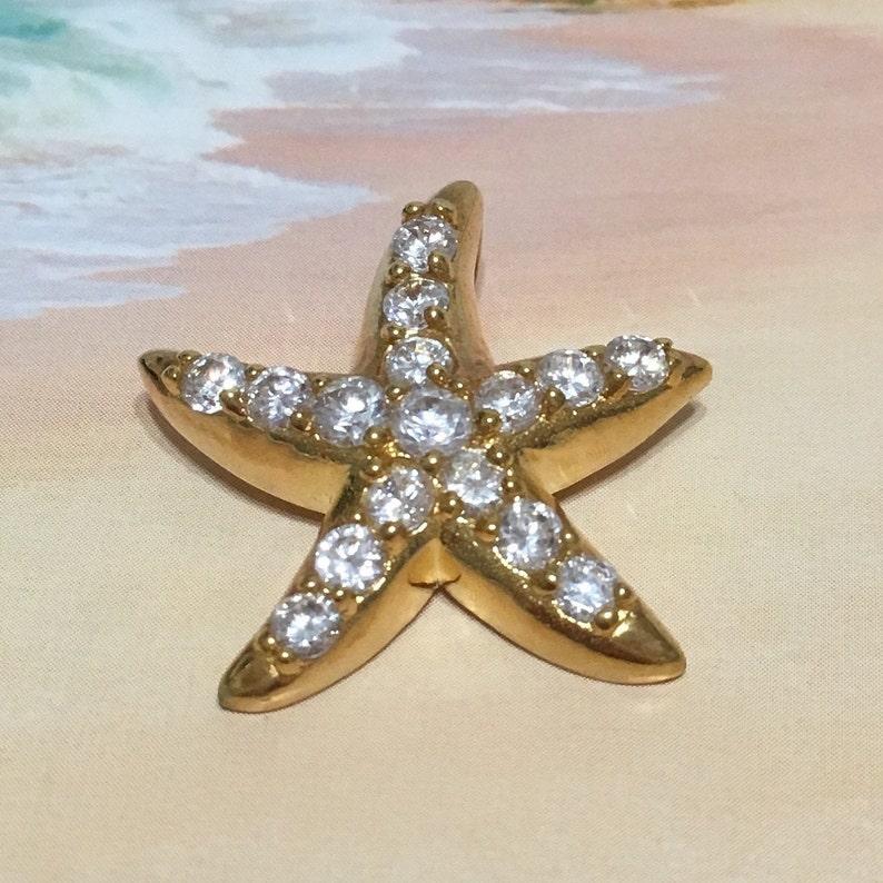 Beautiful Hawaiian Large Starfish Necklace N6071 Birthday Mom Gift Statement PC Sterling Silver Yellow-Gold Plated Starfish CZ Pendant