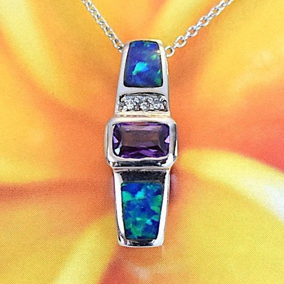 N2824 Valentine Birthday Anniversary Mom Wife Gift Sterling Silver Blue Opal Sailboat CZ Pendant Unique Hawaiian Opal Sailboat Necklace