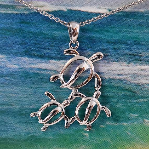 Island Jewelry Pretty Mom /& 2 Baby Turtle Necklace N2023 Birthday Valentine Wife Mom Gift Sterling Silver Hawaiian Sea Turtle Pendant