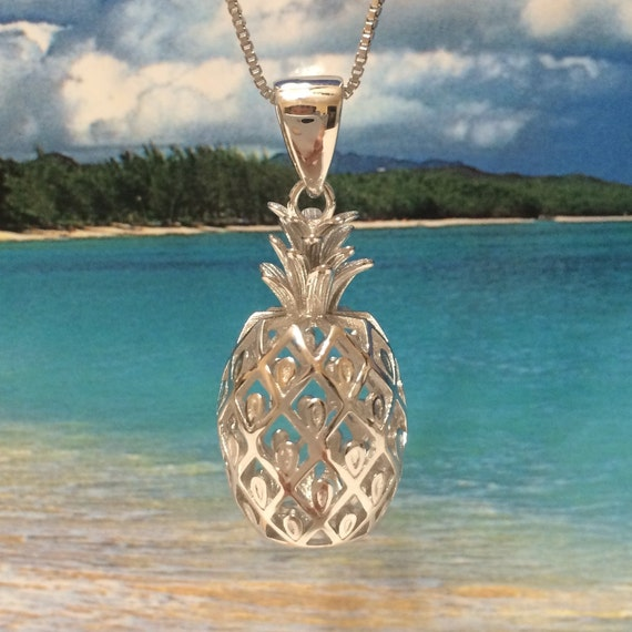 ROSE GOLD ON STERLING SILVER 925 HAWAIIAN 3D PINEAPPLE CHARM PENDANT LARGE 14MM