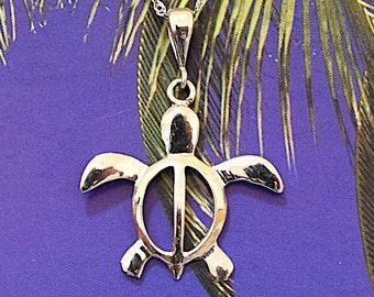 Turtle Pendant, 14KT White Gold Hawaiian Turtle Petrography Pendant, P5218