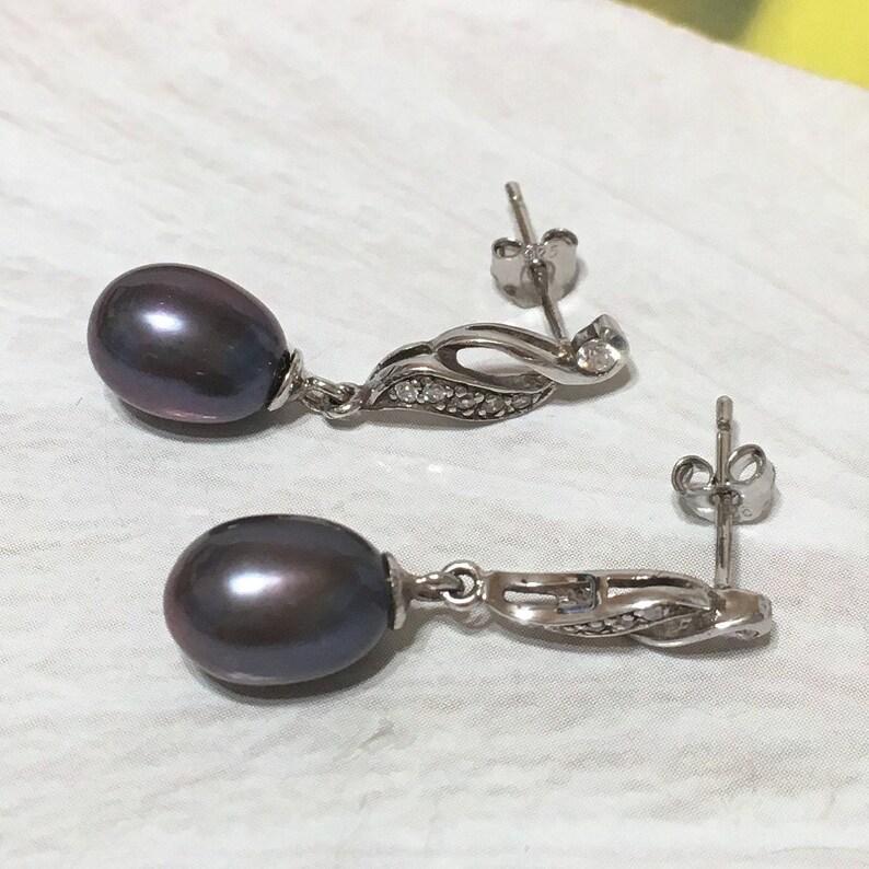 Sterling Silver Black Pearl CZ Post Dangle Earring Beautiful Hawaiian Genuine Black Pearl Earring E4339 Birthday Mom Wife Valentine Gift