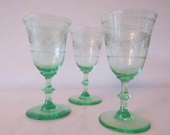 Three antique glasses green 1900