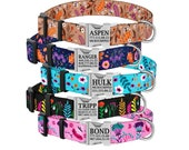 Floral Personalized Dog Collar, Flower Pattern Dog Collar with Laser Engraved Metal Buckle, Dog Collars for Girls, Spring Dog Collar