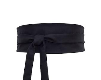 Ceinture SOIE Laine Obi Noire à nouer, large, Reversible, serre-taille,  corset, kimono japonais a0251d31d3f