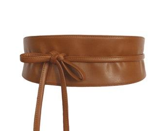 03f9b6f41e2e Black Obi Waist Belt faux leather Wide wrap belt high vegan