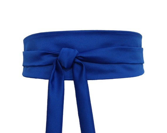 7c36884b6bca Ceinture Obi Bleu roi Uni satin de coton large à nouer style   Etsy