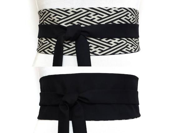 fcf7f800e85b 2 SOIES Haute Couture Ceinture Obi a nouer Noir   Blanc   Etsy