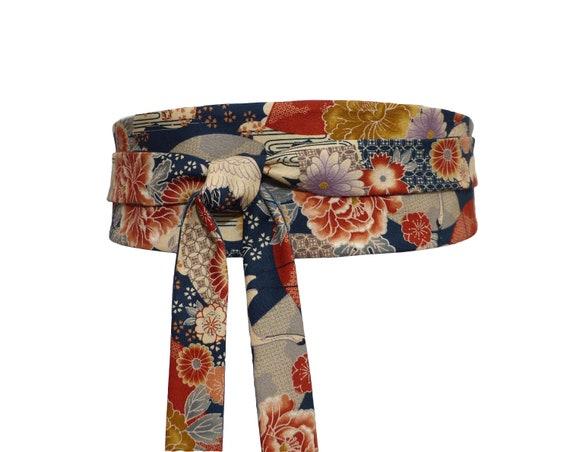 44049c509aab Ceinture Obi fleur à nouer Reversible Tissu Coton japonais   Etsy