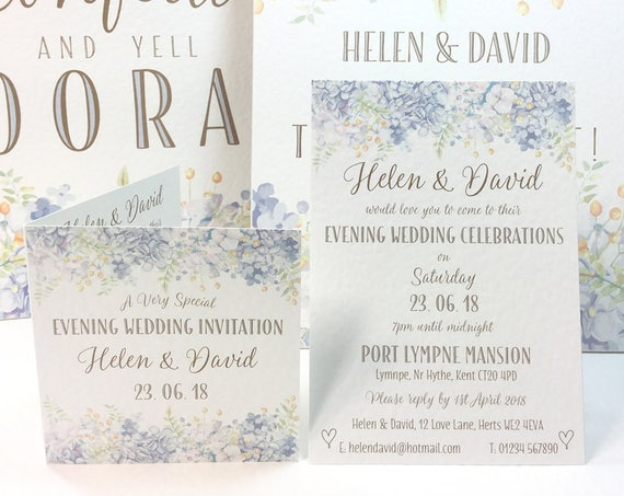 EVENING Wedding INVITATIONS | BLUE floral Gold type | Flat or Folded invite design | Textured card and matching Envelopes | Free Delivery