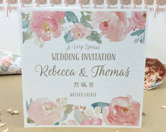 BLUSH Pink & MINT Wedding Invitation | Watercolour PEONIES | Textured card and envelope | With Gift List and Rsvp details | Free Delivery