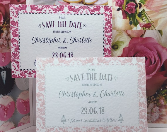 PINK Wedding SAVE the DATE cards | Blush and Mint or Bright Pink and Navy | Personalised and Printed on Textured Card | Free Delivery