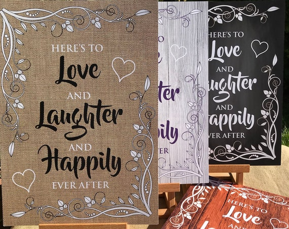 RUSTIC Wedding SIGNS | Love, Laughter and Happily Ever After | PRINTED Wood, Chalk Board, Hessian design | A3 on Foam board | Free Delivery