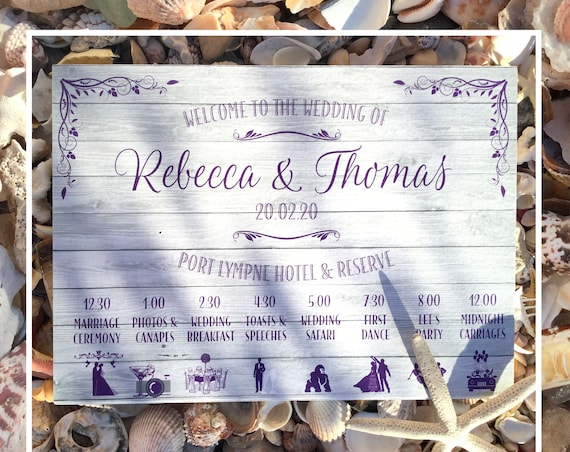 BEACH or Rustic Wedding WELCOME sign | Pale Wood design PRINTED on Board, Poster or Digital | Order of Day Timeline icons | Fast Delivery