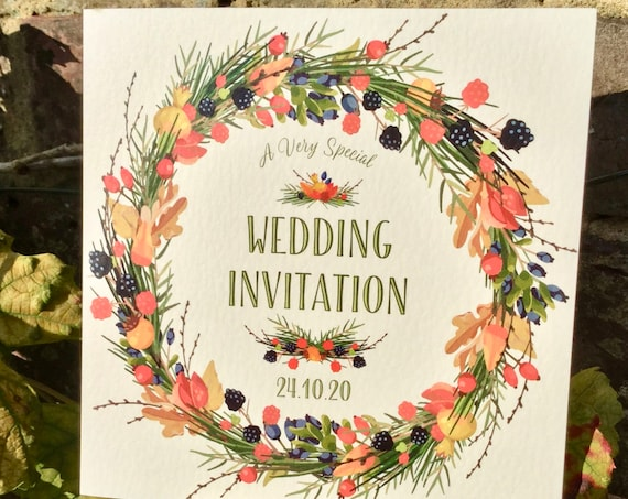 Wedding Invitation AUTUMN Wreath | Berries and leaves | Ivory Textured card | Ivory or Kraft envelope | Includes Gift List and Rsvp details