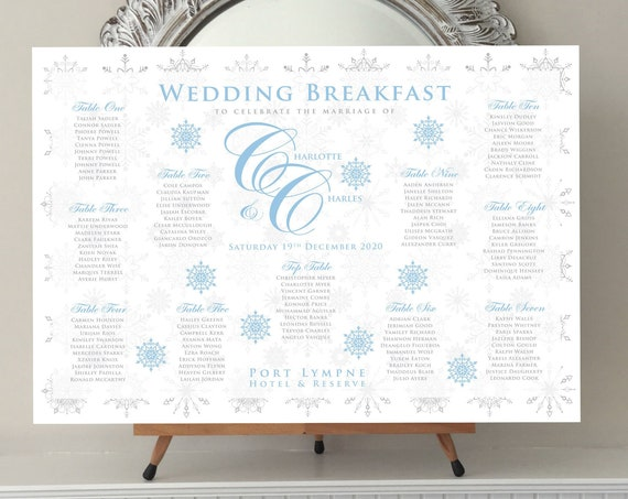 WINTER Themed Wedding TABLE Plan and Seating Chart | Ice Blue and Silver SNOWFLAKES | Printed in four sizes or Digital | Fast Delivery