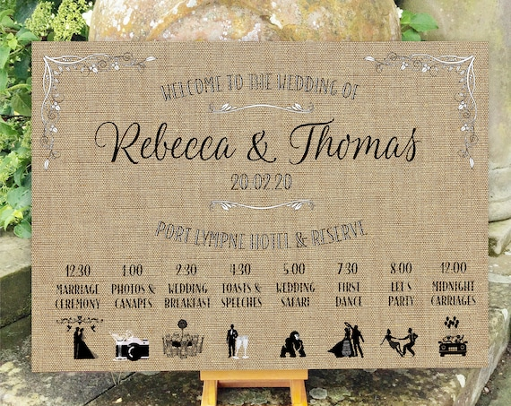 Wedding WELCOME sign ORDER of the Day | Hessian (Burlap) design PRINTED on Board, Poster or Digital | Timeline with Icons | Fast Delivery