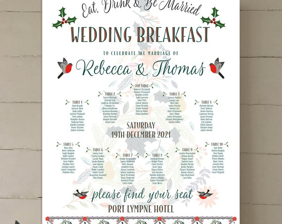 CHRISTMAS Themed Wedding TABLE Plan and Seating Chart | Eat, Drink and Be Married | PRINTED in three sizes or Digital | Fast Delivery
