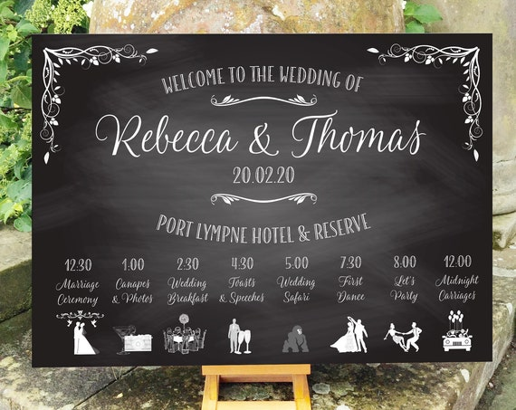 Wedding WELCOME sign | ORDER of the Day | Timeline Icons | Chalkboard design PRINTED on Board, Poster or Digital Version | Fast Delivery