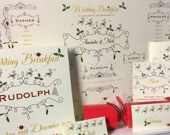 CHRISTMAS Wedding and PARTY Stationery | Ivory Textured Card | A3 Table Plan | Table Name or Number | Guest Place Cards | Free Delivery