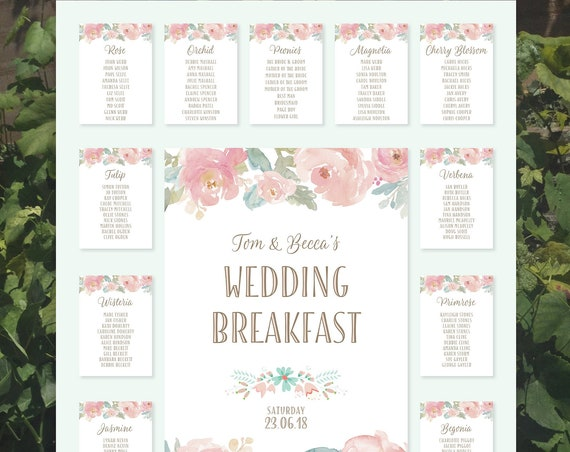 Large Wedding TABLE and SEATING Plan | Watercolour Peonies Design | Blush pink | PRINTED on Board, Poster or Digital Version | Fast Delivery