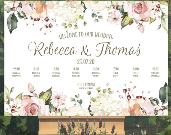 Wedding WELCOME sign | Peach and White Floral design | TIMELINE Order of the Day | PRINTED on Board, Poster or Digital | Fast Delivery