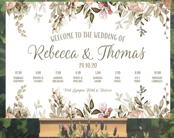 Wedding WELCOME sign | Floral design for Autumn and Winter | TIMELINE Order of the Day | PRINTED on Board, Poster or Digital | Fast Delivery