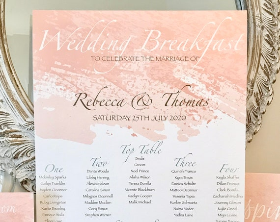 Wedding TABLE Plan SEATING Chart | Paint Brush Watercolour | Peach/Blush Mint Gold | PRINTED in three sizes or Digital | Fast Delivery