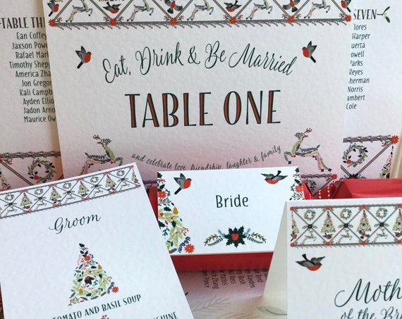 Christmas WEDDING or Party Placecards | PERSONALISED with guest name | Menu Choice | NAMES for Xmas Crackers | Table Names | Free  Delivery