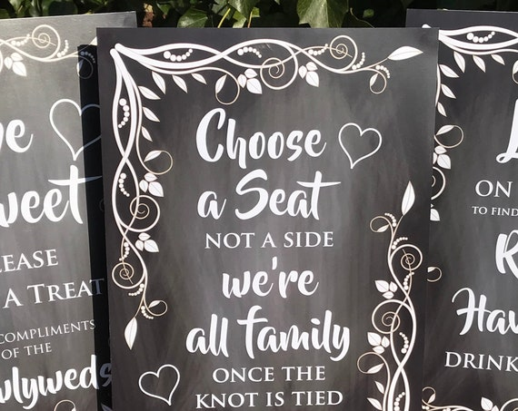 Wedding SIGNS A3 | PRINTED Chalk Board design or DIGITAL | Love is Sweet | Choose a Seat | Photo Booth | Take a Shot | Look on the Tree