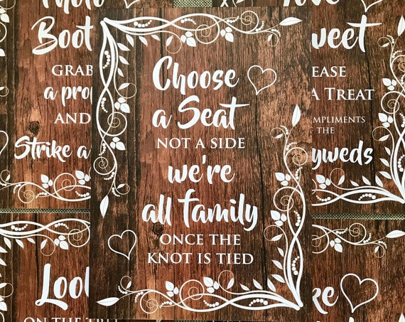 RUSTIC Wedding SIGNS | Take a Shot, Choose a Seat, Photo Booth, Love is Sweet | PRINTED Wood or Digital | A3 on Foam Board | Fast Delivery