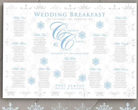 WINTER or Christmas Wedding TABLE Plan and Seating Chart | Ice Blue and Silver SNOWFLAKES | Printed or Digital | Fast Delivery