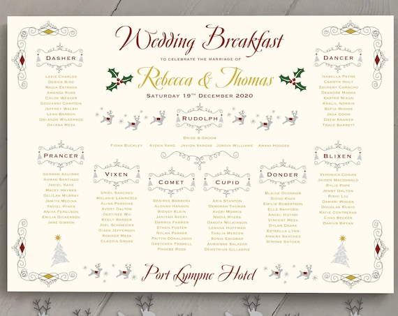 CHRISTMAS Themed Wedding or Party TABLE Plan and Seating Chart | Fun Xmas Design | PRINTED in three sizes or Digital | Fast Delivery