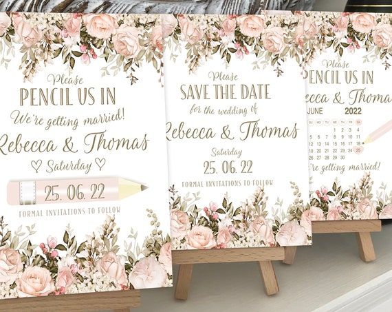 Wedding SAVE the DATE cards | PENCIL Us In | With Calendar | Blush and Caramel Floral Dark Gold type | Ivory textured card | Free Delivery