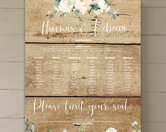 Rustic Wedding TABLE Plan and SEATING Chart | White Floral on Oak Wood Background | PRINTED in three sizes or Digital | Fast Delivery