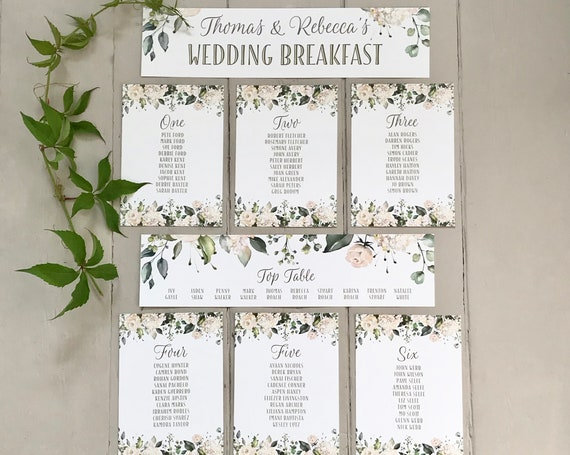 Wedding Seating Table Plan CARDS | White Roses and Hydrangea | Attach to a MIRROR or hang from a FRAME | Easy to pack | White textured Card