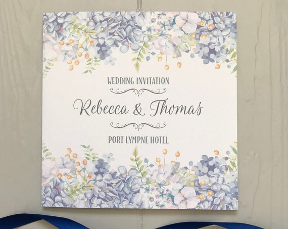 Pastel BLUE Floral Wedding INVITATION | Matching EVENING Invite | Textured card | Personalised Wording Gifts, Rsvp, Menu, Timeline of Day