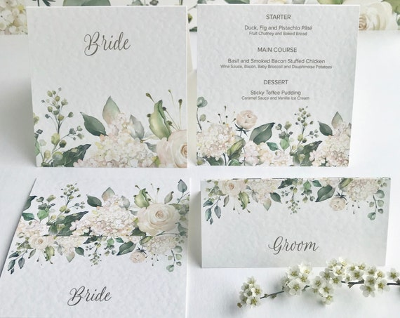 WEDDING place cards | PERSONALISED with guest name | Menu choice | NAME Tags | White Roses, Hydrangea | White textured card | Free Delivery