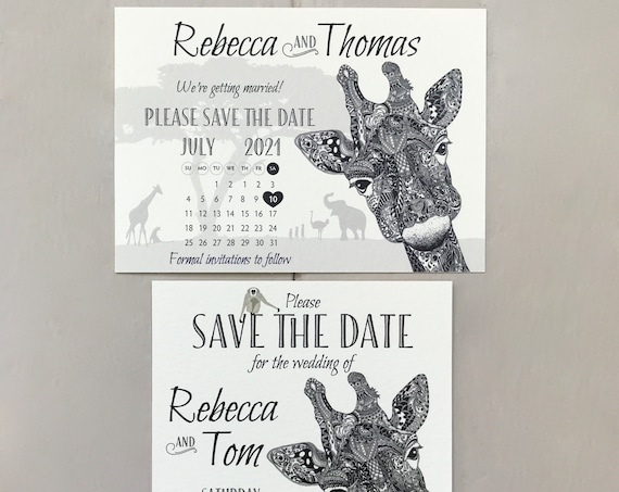 Safari Wedding SAVE the DATE cards | African Animals | Zoo Wedding | Giraffe Calendar Design | Pale Ivory Textured card | Free Delivery