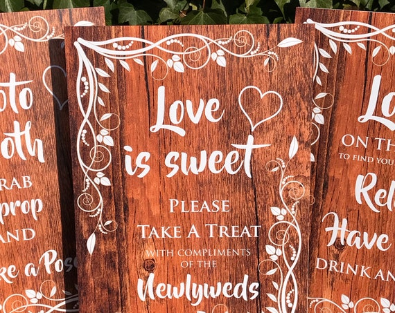 Wedding SIGNS A3 | PRINTED design RUSTIC Wood | Choose a Seat | Look on the Tree | Photo Booth | Love is Sweet | Take a shot | Fast Delivery