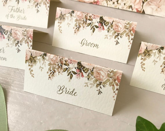 WEDDING place cards | PERSONALISED with guest name | Menu choice | NAME Tags | Table Names | Blush Caramel Floral on Ivory or White Card