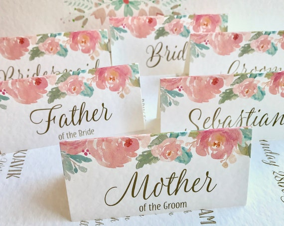 WEDDING place cards | PERSONALISED with guest name | Menu choice | NAME Tags | Floral Watercolour Blush pink peonies| Free Delivery