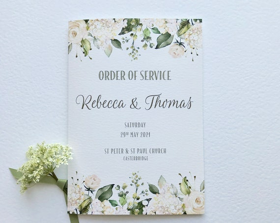 Wedding Ceremony | Order of Service Booklet | Church or Civil Ceremony | White Roses and Hydrangea | Textured Card Cover | 7 x inner pages