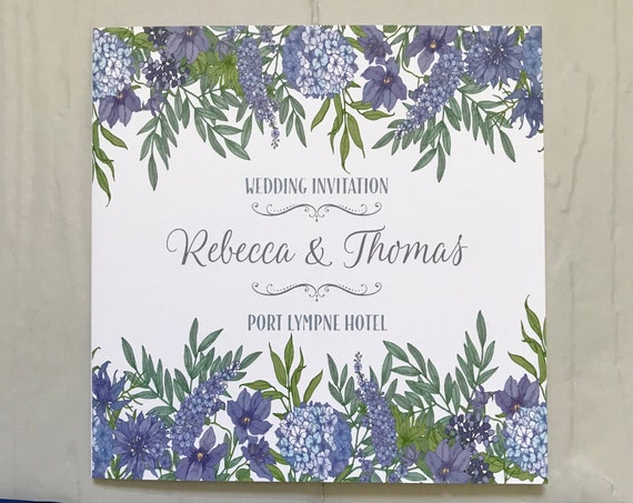 Classic BLUE Floral Wedding INVITATION | Matching EVENING Invite | Textured card | Personalised Wording Gifts, Rsvp, Menu, Timeline of Day